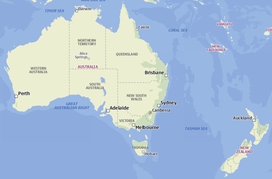 Map about Chemical suppliers in Australia